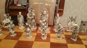 vintage real ivory chess set 2 5 feet x 2 5 feet wood board with emperor themed white brown chess pieces