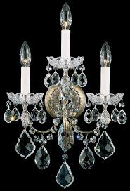 new orleans 3 light 110v wall sconce in french gold with clear heritage crystal