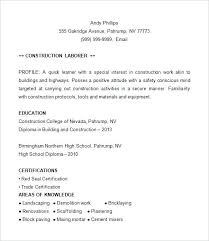 Construction Resume Format Construction Resume Example Construction ...