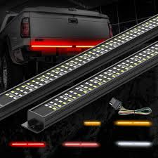 Mictuning Triple Tailgate Light Bar Waterproof Plug And Play Aluminum Frame With 4 Way Flat Connector Wire Amber Sequential Turn Signal Red