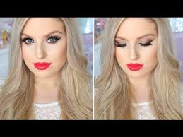 makeup for fair or pale skin evening smokey eyes bright red lips