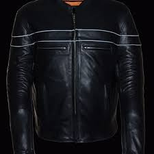 heavy leather vented motorcycle riding jacket