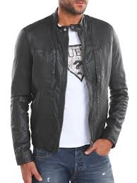 guess artist leather jacket in black for men lyst
