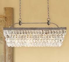 1 of 4 new pottery barn rectangular clarissa crystal drop chandelier retail 899