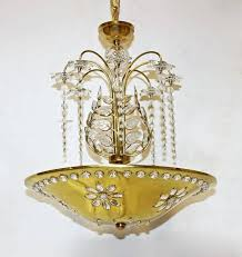 beautiful dish form chandelier in the style of maison bagues polished brass dish is pierced