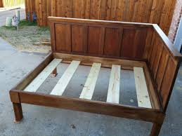 diy corner wood bed frame with high headboard for queen bed ideas elegant ideas design elegant