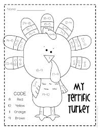 thanksgiving math coloring worksheets by lesson lady tpt