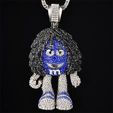 iced out m m figure necklaces pendants with 36 snake chains full crystal bling hip