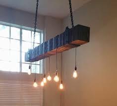 reclaimed beam edison bulb chandelier