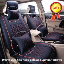 awesome us m size black red pu leather seat covers 5 seats cars suvs front 2017 2018
