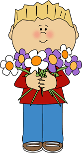 boy holding a bunch of flowers clip art
