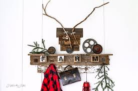 themed interchangeable fall farm reclaimed woodcoat hook shelf for all seasons made with wire