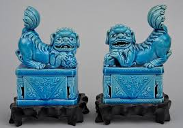 pair chinese turquoise foo dogs on stands circa 1900