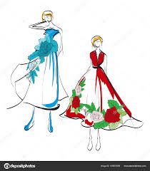 мода иллюстрация стильная мода модели мода девушка эскиз девушки