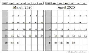 Blank Two Month March April 2020 Calendar Printable Template