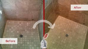 before and after picture of a travertine shower grout cleaning in clearwater florida