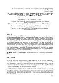 Small Picture INFLUENCE OF PLASTIC PINS ON INTERFACE SHEAR CAPACITY OF SEGMENTAL