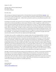 Communications Specialist Cover Letter Cover Letter Csu Coordinator Of Marketing And Communications