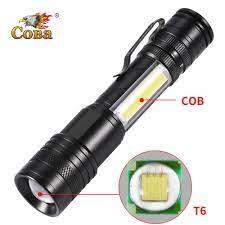 COBA LED Đèn Pin Sạc USB T6 Đèn Pin Chống Nước COB Đèn Flash Đèn Gắn Nam  Châm 4 Chế Độ Phóng To Đèn|LED Flashlights