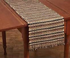 country tanner table runner 13x36 brown black tan cotton chindi rag rug style