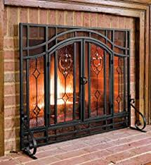 Amazon.com: Plow & Hearth Floral Large Fireplace Screen with Doors ...