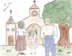 Image result for family going to church images art