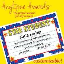 Star Student Certificates Nsd6003 Star Student Editable Anytime Award Certificates