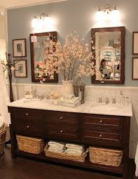 double vanity with two mirrors. bathroom color, love the double sink and flowers vanity with two mirrors e