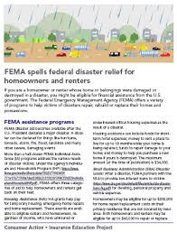 Disaster Consumer Fema And For Relief Homeowners Federal Renters Action - Spells