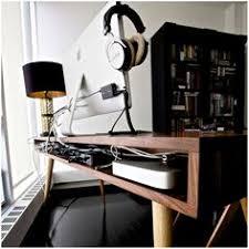 minimal mid century office custom desk from behind awesome custom reclaimed wood office desk