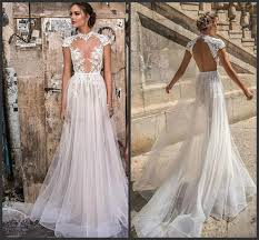 A Line Hollow Back Plus Size Cheap Bridal Gowns Berta Beach Wedding Dresses Country High Neck Cap Sleeve Illusion Sexy Lace Wedding Dress Hippie