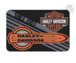 harley davidson mens tune up b s logo 20 x 30 round edge black rug