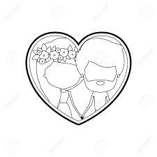 似顔絵顔カップル男性と女性の手のベクトル図を保持している内部の髪の花の冠が付いたシルエット