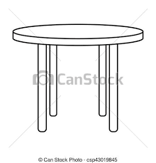round table clipart black and white. vector - wooden round table icon in outline style isolated on white background. furniture and home interior clipart black r