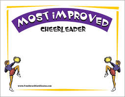 Most Improved Certificate Cheerleader Award Templates