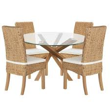 home of style abbotsley dining table with 4 rattan chairs at argos co