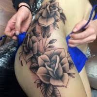 Tropical Flower Tattoo Black And White