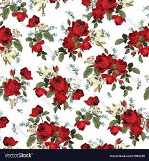 Rose Pattern Simple Seamless Floral Pattern With Red Roses On White Vector Image