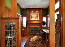 curio cabinets for home office craftsman with green walls tile fireplace surround