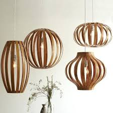large wooden pendant light lamp contemporary lampshade round