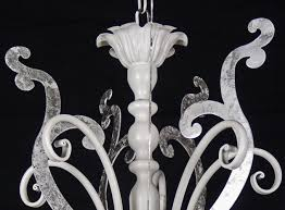 ancient chandelier lamp 5 lights led iron laser cut crystal white silver art l26