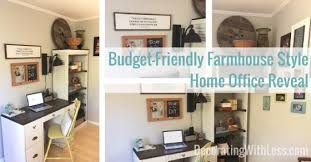 home office on a budget. Budget-Friendly Farmhouse Style Home Office Reveal - Decorating With Less On A Budget