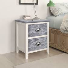 D-Shop <b>Nightstand 2 pcs with</b> 2 Drawers Grey and White - Design ...