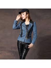 2018 autumn womens tops denim jacket stitching leather short jeans jacket women coat harajuku slim