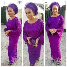 Bukky Wright Looks Super Exquisite In Fabulous Purple Aso Ebi