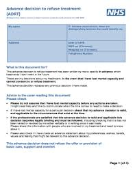 My Advance Decision To Refuse Treatment Fill Online, Printable ...