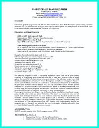 Resume Computer Science Degree Computer Science Resume For