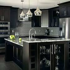 modern black kitchen cabinets for small white of with marble countertops