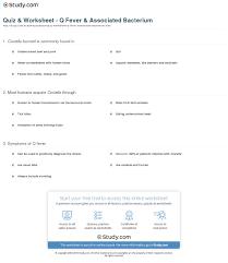 Quiz Worksheet Q Fever Associated Bacterium Study Com