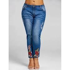 wholesale plus size jeans wholesale plus size floral embroidery jeans 5xl denim blue online
